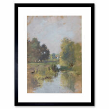 Painting Landscape Von Gietl River Woods Trees Framed Art Print 12x16 Inch