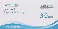 50 Pack Easy Glide 30cc30 Ml Luer Lock Syringes 30ml Sterile Syringe No Needle