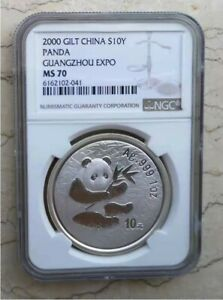 NGC MS70 China 2000 Silver 1oz Panda Coin - Guangzhou Coin Expo