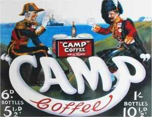 Camp coffee retro vintage style metal wall plaque sign