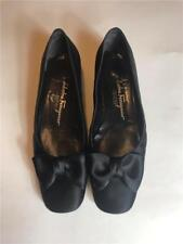 Salvatore Ferragamo Boutique Black Satin Bow Evening Low Heel Ballet Flat Sz 8