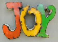 Rustic Metal Letters Joy Tin Sign Garden Home Ranch Decor Man Cave