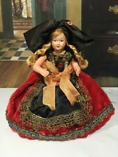 5.5�Miniature Antique French Celluloid Doll Metal Thread Religious Cross