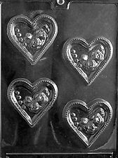 HEARTS WITH ROSES V15 Chocolate Candy Soap molds wedding cupcake toppers