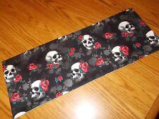 Halloween skull roses handmade decor MINI table runner Toilet Tank Topper black