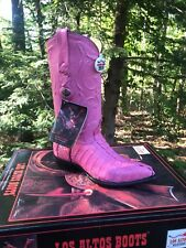 NEW Los Altos Ladies 6 Pink Croc Caiman Tail Leather Cowboy Cowgirl Boots $299