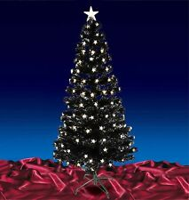6ft Black Fibre Optic Top Star Tree With LED Warm White Lights Christmas Tree