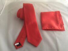 "<New> Matt Coral-Orange Mens Slim Polyester Tie and Hanky Set - 3"" = 7.5cm Width"
