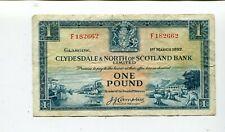 SCOTLAND CLYDESDALE & NORTH OF SCOTLAND BANK 1 POUND 1952 VF NR 17.95