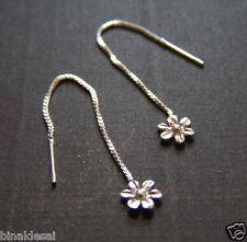 925 Sterling Silver Small Daisy Flower Chain PULL THRU DROP EARRINGS GIRLS GIFT
