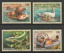 timbres-Suisse-ONU. 2000. Endangered Espèces (8ème Series). SG: G389/92. MNH
