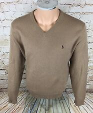 Genuine Polo By Ralph Lauren Mens Lambswool Jumper Tan Sz XL / Extra Large