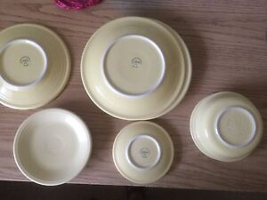 Fiestaware Yellow Plates Bowls Salad Dessert Lunch Cereal Bread