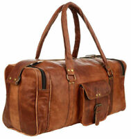 Men's Brown Vintage Travel Luggage Duffel Gym Bags Tote Goat Genuine Leather Bag