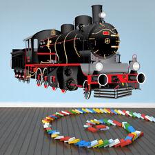 Black Steam Train Wall Sticker WS-41172