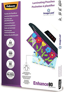 Fellowes A4 Laminating Pouches, Gloss, 80 Micron with Image Last Directional of