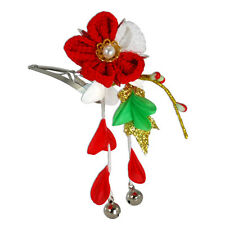 Japanese Hair Ornament Kanzashi Red Silk Flower Red Wisteria Bell Small HairClip