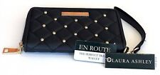 LAURA ASHLEY BLACK QUILTED LEATHERETTE,GOLD STUDS SMART PHONE,WALLET,WRISTLET