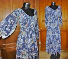 Vtg 70s Gauze Cotton Floral Print Hippie Prairie Festival Boho Party Maxi DRESS