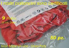 """PALLONCINI ROSSO 50 Pz 26 cm diam 9-10"""" LAUREA PARTY FESTA ALLESTIMENTO"""