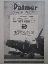 11/1945 PUB THE PALMER TYRE WHEEL BRAKE PNEUMATIC MECHANISMS AIRCRAFT AD