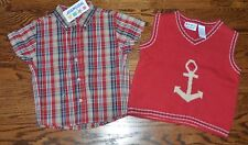 NWT BOYS 18M ANCHOR NAUTICAL KNIT SWEATER VEST SHORT SLEEVE SHIRT RED WHITE BLUE