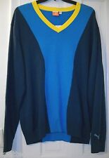 New $90 PUMA GOLF VNeck Blue Turquoise Yellow Colorblock Sport Sweater~XL~$0SHIP