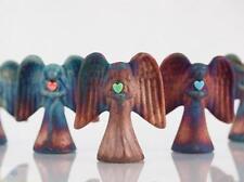Spirit Angel Raku Pottery w/gemstone heart, handmade, handsigned- NEW