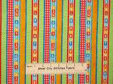 Sesame Street Baby Nursery Kids Number Alphabet Stripe Cotton Fabric 2 Piece Lot
