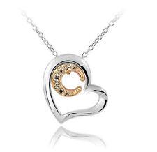 Elegant Silber Herz mit Gold voll mit Strass Mond Anhänger Halskette N255