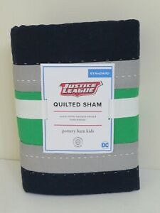 Pottery Barn Kids Justice League Quilted Pillow Sham Navy Green Standard NEW