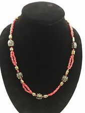 Boho Red Gold Silver Hardware Double Strand Handmade Necklace Lobster Clasp NEW