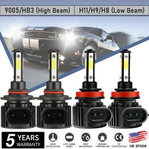 9005 H11 LED Headlight Bulbs Conversion Kit High Low Beam Bright White 6000K CSP