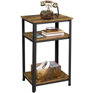 3-Tier End Table Industrial Side Sofa Telephone Table with Storage Shelf Bedroom
