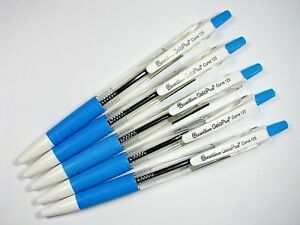 5 x QUANTUM Geloplus Curve 125 Blue Body Barrel All Blue Ink BALLPOINT PEN 0.5mm