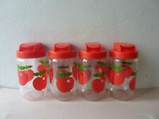4 bocaux en verre, décor pommes, Henkel france, vintage des années 70
