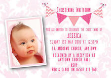 Personalised Photo bunting Christening invitations Girl Baptism inc envelopes