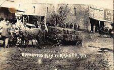 TX - 1900's RARE! REAL PHOTO Hauling Hay in Ranger, Texas - Eastland County