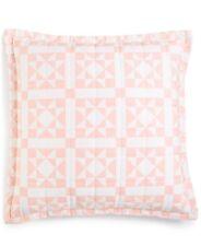 "Calvin Klein Abigail 22"" x 22"" Geometric Cotton Decorative Pillow - Pink / White"