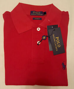 Mens / Boys Ralph Lauren Short Sleeve Polo - Red - Small 34-36'' chest