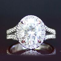 2.90 CT FOREVER ONE MOISSANITE OVAL HALO WITH MICRO PAVE ENGAGEMENT RING