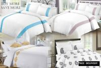 White Queen And King Size Cotton Embroidered Quilt Duvet Cover Pillowcases Set