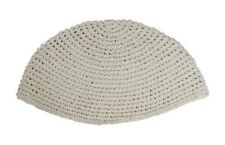 "Medium Regular Plain Smooth Freak Beige Knitted Kippah Yarmulke 22 Cm 8.7"""
