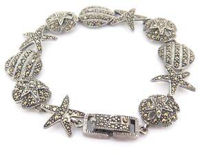 .Vintage Sterling Silver & Marcasite Starfish Shell Theme Bracelet  21.2g 19.5cm