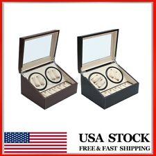 Display Case Box 4+6 Automatic Rotation Luxury Leather Watch Winder Storage Auto