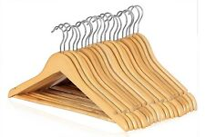 20 Wooden Coat Hangers Suit Trouser Garments Clothes Coat Hanger Bar NEW