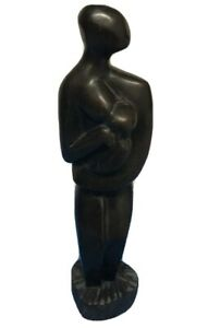 African Solid Wooden Carving Statue Woman Mother Holding Nursing Baby Figure