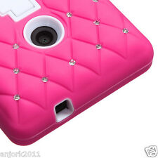 NOKIA LUMIA 520 HYBRID STUD DIAMOND LATTICE CASE SKIN COVER W/STAND PINK WHITE