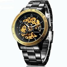 Men's Skeleton Transparent Automatic Mechanical Stainless Steel HOUR Wrist Watch