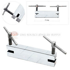 Double Hole Punch Plate Jewelers Tool Metalwork Stainless Steel Hand Screw
